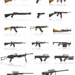 Weapon and gun set collection icons vector illustration — Stock vektor