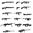 Weapon and gun set collection icons black silhouette vector illu — Stock Vector