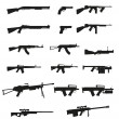 Weapon and gun set collection icons black silhouette vector illu — Stock vektor
