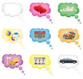 Impostare il concetto di icone di un sogno nell'illustrazione vettoriale nuvola — Vettoriale Stock