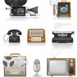 Vintage and old art equipment video photo phone recording tv rad — Stock Vector