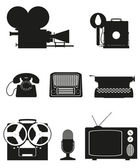Vintage and old art equipment silhouette video photo phone recor — Stock Vector