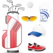 Equipment and clothing for golf vector illustration — Stock Vector