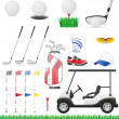 Set golf icons vector illustration — Vettoriali Stock