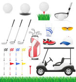 Icônes de golf set vector illustration — Vecteur