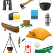 Set icons items for outdoor recreation vector illustration - Image vectorielle