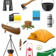 Set icons items for outdoor recreation vector illustration - Stok Vektör