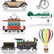 Set icons old retro transport vector illustration — Stock Vector
