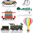 Set icons old retro transport vector illustration — Imagen vectorial