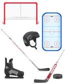 Set of hockey equipment vector illustration — Stock Vector