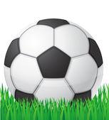 Bola de futebol futebol na ilustração de vetor de fundo de grama — Vetorial Stock