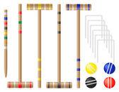 Conjunto de equipamentos para ilustração vetorial de croquet — Vetorial Stock