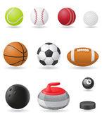 Illustrazione vettoriale icone set sport palle — Vettoriale Stock