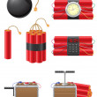 Set icons detonating fuse and dynamite vector illustration — Stockvektor