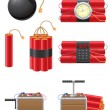 Set icons detonating fuse and dynamite vector illustration — Imagen vectorial