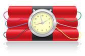 Explosivo dinamita y un reloj vector illustration — Vector de stock