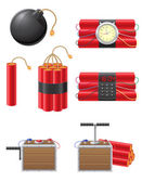 Set icons detonating fuse and dynamite vector illustration — Stock Vector