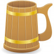 Wooden beer mug vector illustration — Stock Vector
