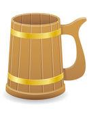 Wooden beer mug vector illustration — Stock Vector
