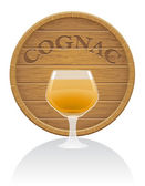Wooden cognac barrel and glass vector illustration EPS10 — Cтоковый вектор