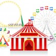 Stock Vector: Circus tent and attractions vector illustration