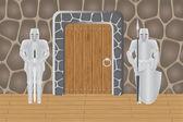 Knights in castle guarding door — Stock Vector