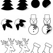 Stock Vector: Icons labels for christmas and new year black silhouette vector