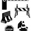 Set icons road barrier black silhouette vector illustration — Stock Vector