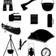 Stock Vector: Set icons items for outdoor recreation black silhouette vector i