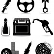 Set icons of car parts black silhouette vector illustration — Stok Vektör
