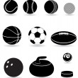 Set icons sport balls black silhouette vector illustration — Stock Vector