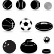 Set icons sport balls black silhouette vector illustration — Stock Vector #33280379