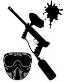 Paintball set black silhouette vector illustration — Stock Vector