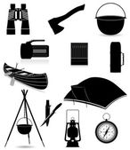 Set icons items for outdoor recreation black silhouette vector i — Stock Vector