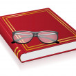 Red book and glasses vector illustration — Stock vektor