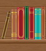 Książki na ilustracji wektorowych drewniane półki — Wektor stockowy