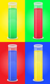 Glass test tube with color liquid vector illustration — Stock Vector