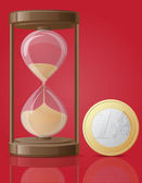 Old retro hourglass and one coin euro vector illustration — Vector de stock