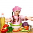 Girl chef preparing salad from vegetables vector illustration — Imagens vectoriais em stock