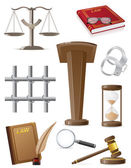 Law set icons vector illustration — Stock Vector
