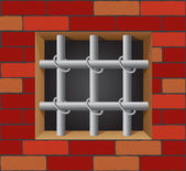 Prison bars on brick wall vector — Stock Vector