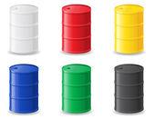 Colour metallic barrels vector illustration — Stock Vector