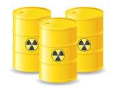 Yellow barrels of radioactive waste vector illustration — Stock Vector