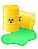 Yellow barrels spilled radioactive waste vector illustration — Stock Vector