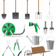 Set garden tool vector illustration — Stock Vector