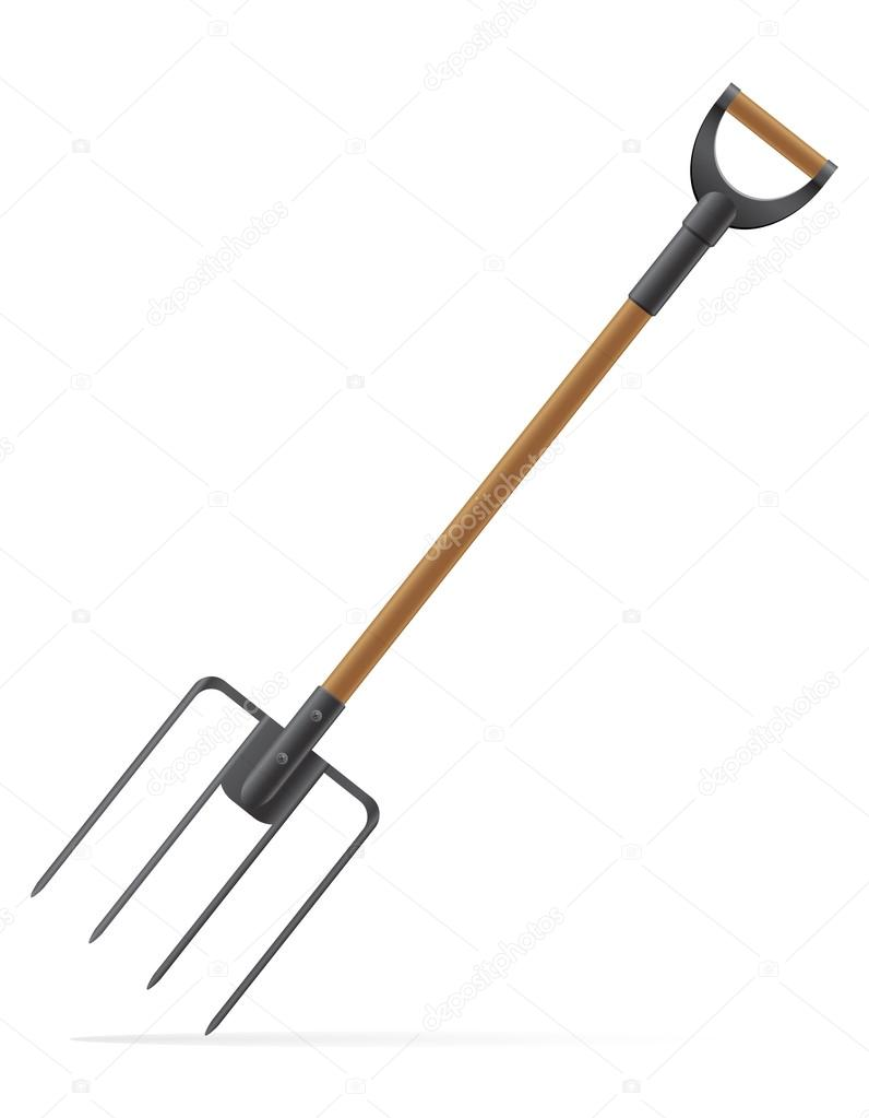Garden tool pitchfork vector illustration Stock Vector kontur