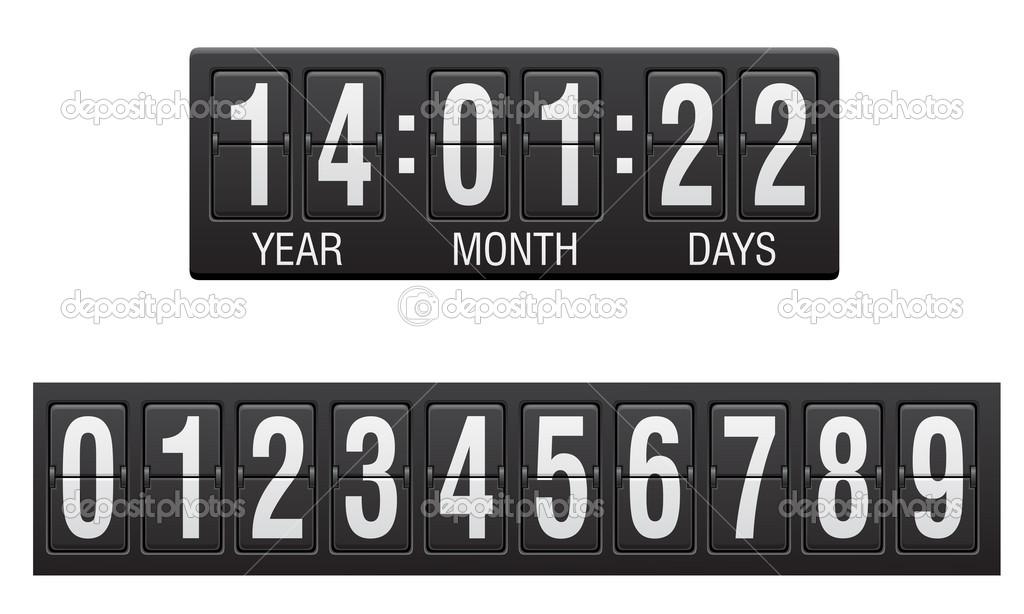 记分牌倒计时计时器矢量图
