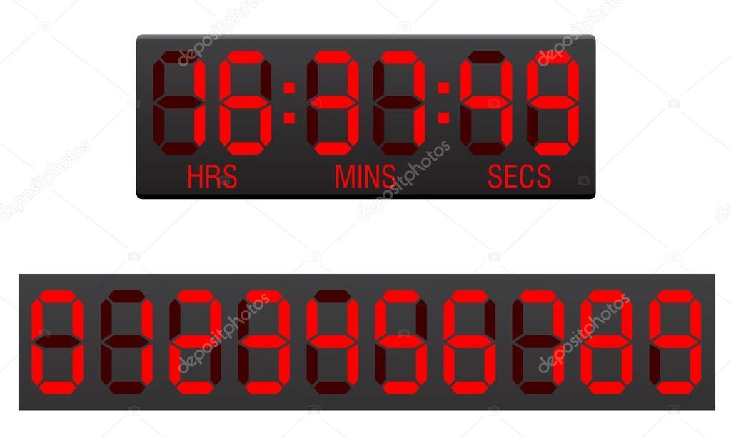 记分板数字倒数计时器矢量图