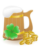 Mag beer clover and coins St. Patricks day vector illustration — Stock Vector