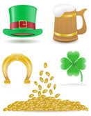 Set icons St. Patricks day vector illustration — Stock Vector